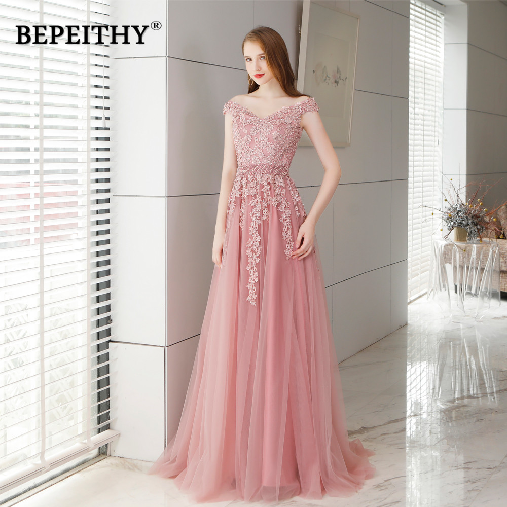 Abendkleider Pink Long Lace   Evening     Dress   With Pearls Vestido De Festa Vintage Prom   Dresses   Party Elegant 2019 Vestido Longo