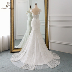 PoemsSongs 2019 new cap sleeve style lace wedding dress for wedding Vestido de noiva Mermaid wedding dresses ivory / white color 3