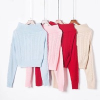 red sweater fashion women tops off shoulder sweaters and pullovers long sleeve knitted high quality women chompa backless loose