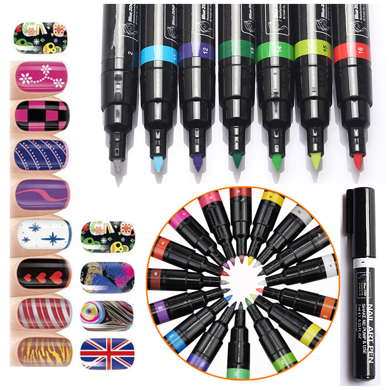 16 Colors Set 7ml Nail Art Pen for 3D Nail Art DIY Decoration Nail Polish Pen Set UV Gel Art Design Drawing Tool Set Beauty 2018