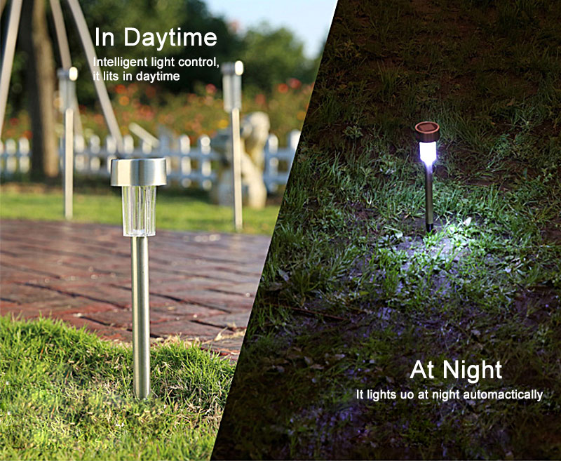 Outdoor Solar Light Colorful Changing Solar Lawn Light Garden Lamp Waterproof Stainless Steel Yard Path Lawn Lamp 9