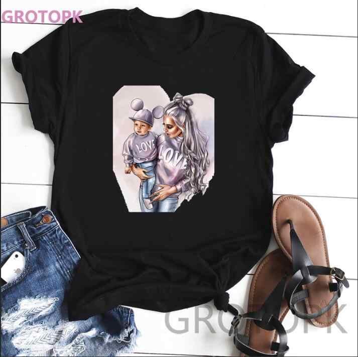 אמא אהבה לילדיה T חולצת נשים סופר אמא Tshirt קיץ פוליאסטר חולצה טי חולצה Femme חולצות Streetwear בתוספת גודל
