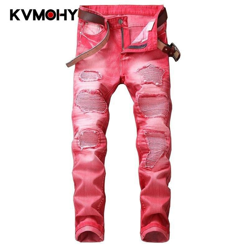 Mens Jeans Patches Decoration Skinny Ripped Jeans Broken Punk Pants Destroyed Hip Hop Jean Men Pantalon Homme Streetwear