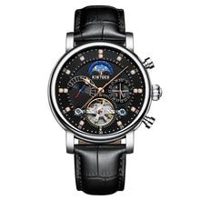 1ec596918334f KINYUED الفاخرة 3ATM المياه واقية التلقائي الميكانيكية ساعة جلد أصلي الهيكل  العظمي رجل الأعمال ساعة اليد