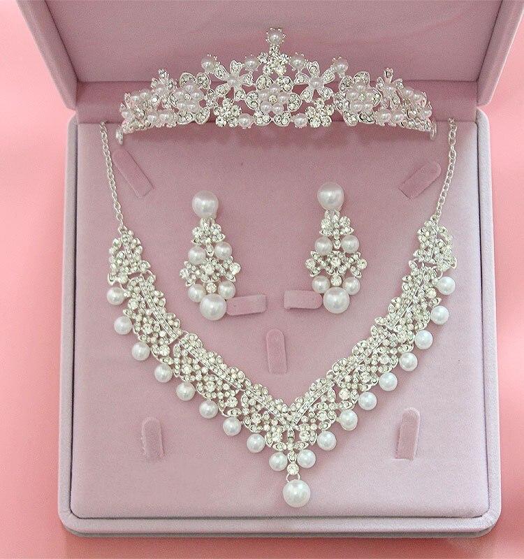 Мода Серебряный цветок кристалл жемчуг свадебный колье цепочки и ожерелья Серьги Тиара короны невесты повязка на голову наборы свадебных ювелирных