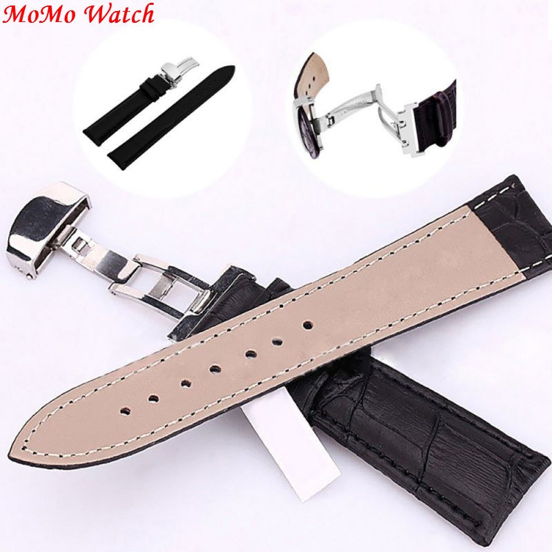 Genuine Leather Strap Polished Stainless Steel Butterfly Clasp Deployant Buckle Watch Band 16-24mm watch band strap butterfly pattern genuine leather deployant buckle bracelet brown black watchbands 18 24mm