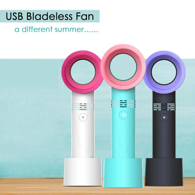 2019 Summer Mini Leafless Fan Handheld 3 Speed Adjustable USB Rechargeable Air Cooling Fan