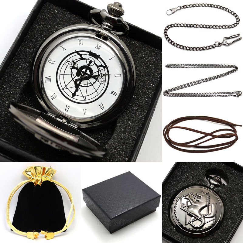 Black Silver Fullmetal Alchemist Quartz Pocket Watch Necklace Leather Chain Box Bag Relogio De Bolso Jewelry Sets Gifts antique fullmetal alchemist full metal case bronze pocket watch with chian necklace christmas
