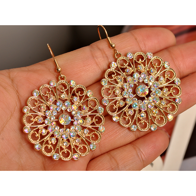 Ms popular senior colored gems noble jewelry wholesale girls birthday party circle earrings Christmas gift free shipping.