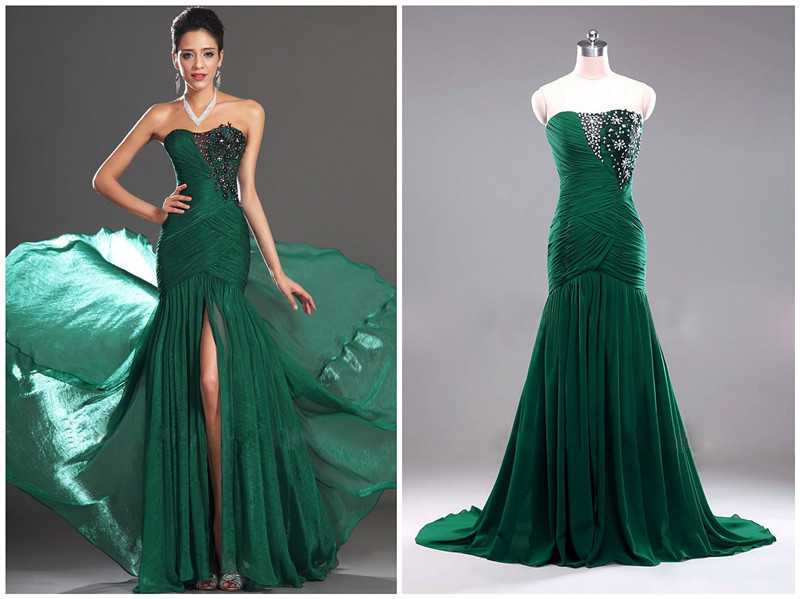 Popular Dark Green Prom Dress Mermaid Style-Buy Cheap Dark Green ...