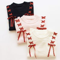 Autumn new Female Soft Sister Ribbon Bow Women's Sweaters Solid Color Preppy style Mori Girl Should Bandage Lovely Sweater