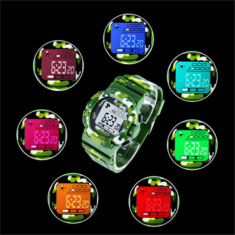Colorful Lights Alarm Clock Sports Childrens Watch Military Camouflage Watches Child Kids Boy Electronic Date Orologi Bambini