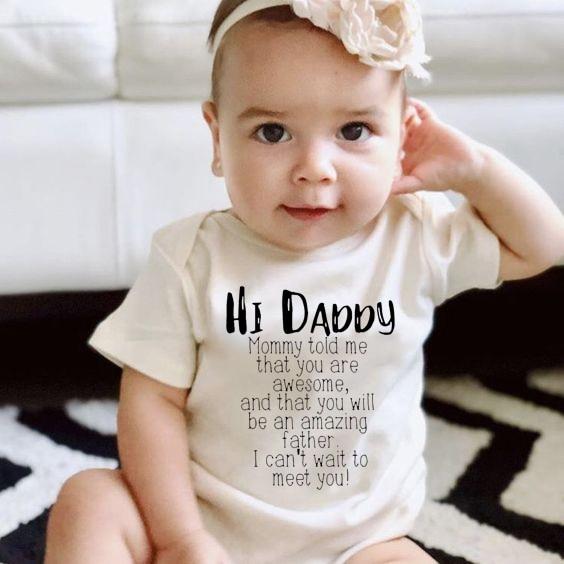 Cute Newborn Children Baby Girl Clothes Babies Bodysuit Infant Beby Jumpsuits Sunsuit Kids Summer Clothing Hi Daddy Print 0-24M