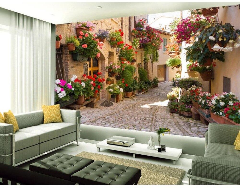 €10.41 62% de réduction|Européen jardin canapé toile de fond allée 3d  papier peint paysage fonds d\'écran pour salon décoration de la maison-in  Papiers ...