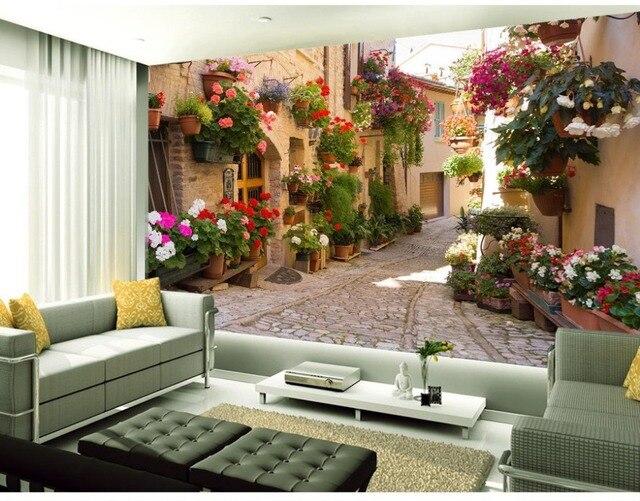 € 9.97 63% de réduction|Européen jardin canapé toile de fond allée 3d  papier peint paysage fonds d\'écran pour salon décoration de la maison dans  Fonds ...