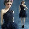 2017 nuevo azul marino de un hombro a corto prom dress vestido formatura abendkleider vestidos de baile envío rápido