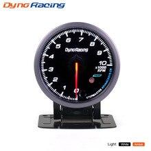 Dynoracing 60 мм Тахометр 0-10000 об/мин gauge Черный лицо с белым и янтарный освещения тахометре автомобиль метр BX101476