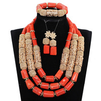 2017 red orange coral beads jewelry set african jewelry sets for women wedding jewelry sets bridal JB145