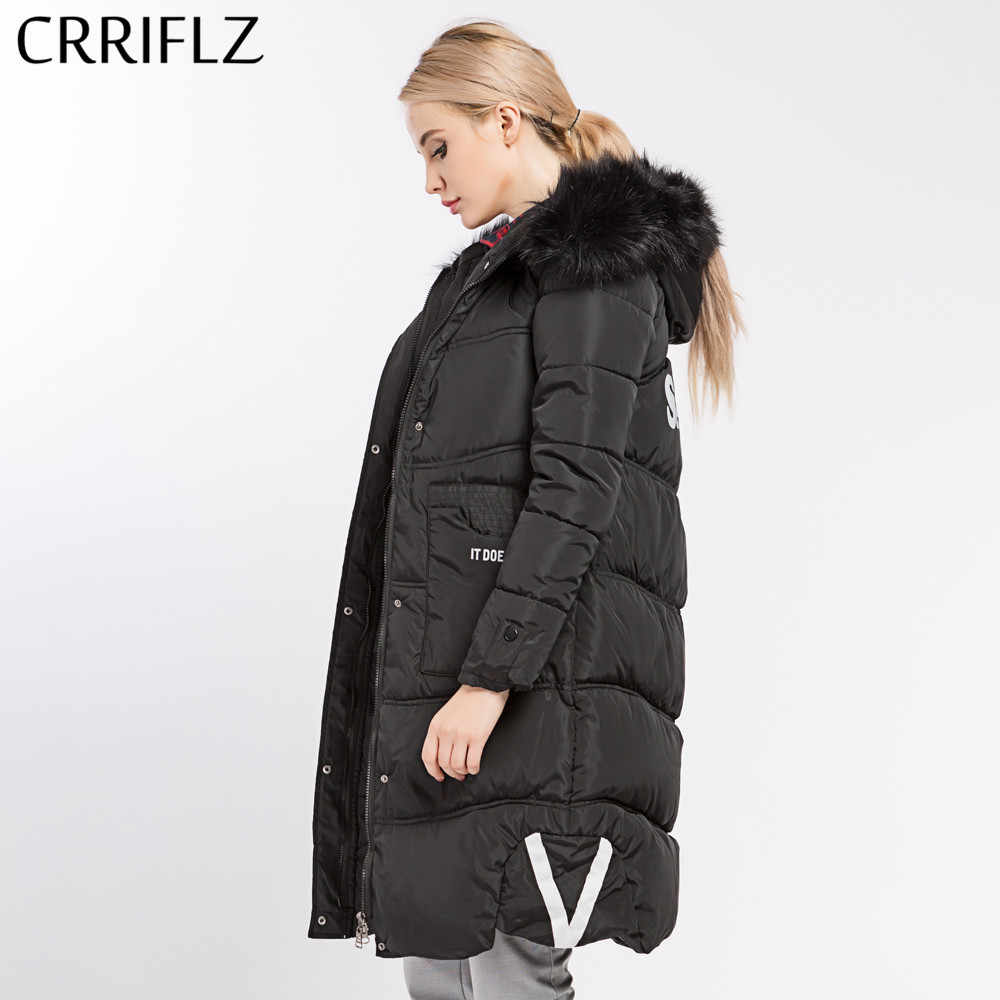 24c573bef5 CRRIFLZ Winter Clearance Women Coat Jacket Medium Length Slim Woman's  Hooded Warm Parka With Fur Winter