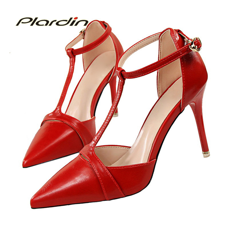 plardin new women pumps T-tied high-heels thin heel pointed toe shoes for women summer casual sweet woman shoes Fashion shoes 2017 new summer women flock party pumps high heeled shoes thin heel fashion pointed toe high quality mature low uppers yc268