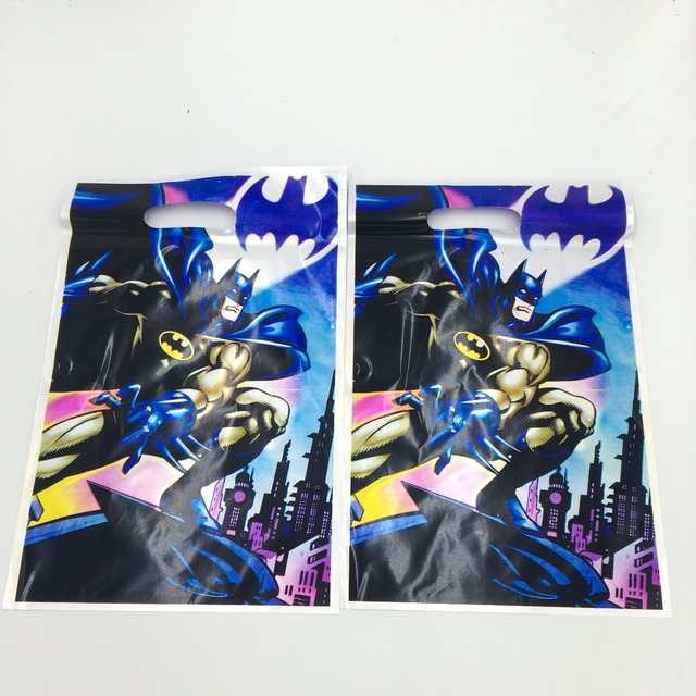 10pcs Batman Loot Bags Kids Birthday Party Supplies Theme Happy Gift Return
