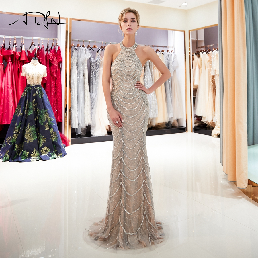 ADLN Sexy Mermaid   Prom     Dresses   Luxury Halter Sleevless Beading Tulle Evening   Dress   Long Party Gowns Robes De Soiree