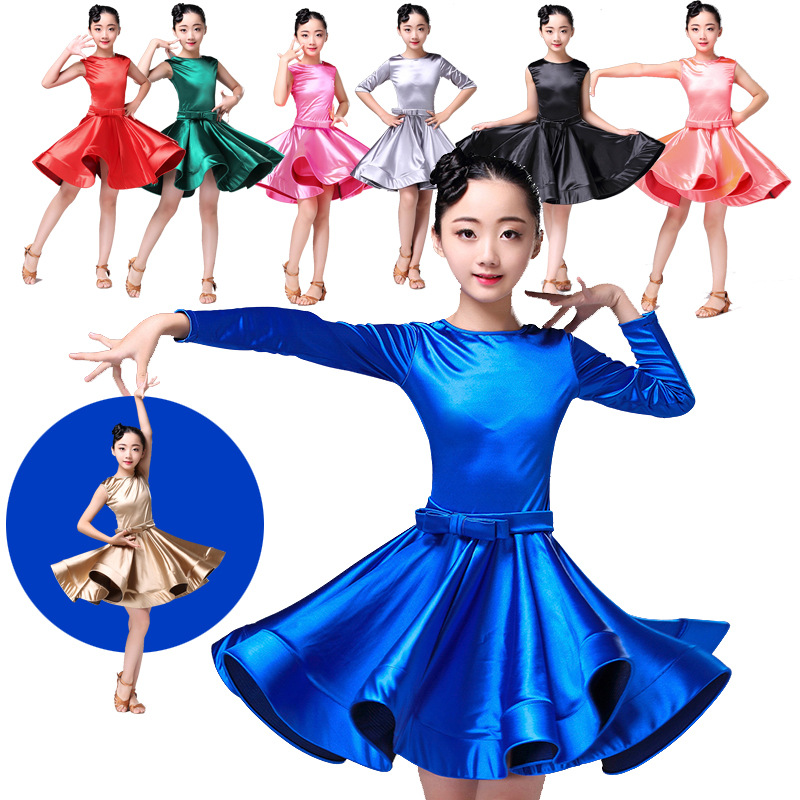 Children's Latin Dance Skirt Children's Dress Girls' Dancing Clothes Autumn and Winter Long Sleeved Latin Examination Exercises black backless latin dance dress women latin dress dancing clothes dancewear rumba dress latina salsa dress latin dance costumes