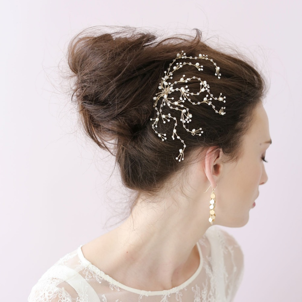Handmade Exquisite Crystal Spray Bride Style Hair Accessory Comb Fashion Twigs Head Chain Wedding White O009