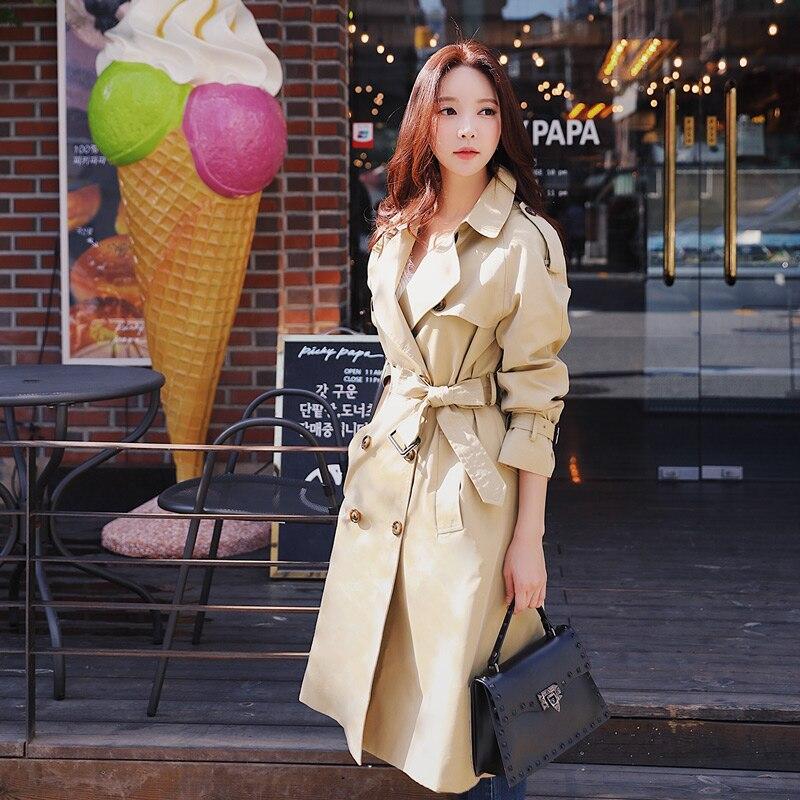 Dabuwawa printemps femmes kaki Chic manteau Trench 2019 nouveau Highstreet vêtements de travail Double boutonnage ceinturé long manteau d'extérieur D18CTC025