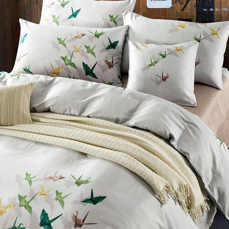 CHAUSUB Satin Long-agrafé coton ensemble de literie 4 pièces 3D impression lit couverture roi reine taille housse de couette soie draps taie d'oreiller