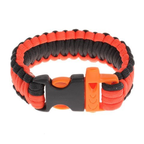 Multifunctional Curved Paracord Parachute Cord Outdoor Survival Bracelet with Whistle Buckle for Camping Hunting (Orange with Bl