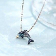 YUN RUO – collier avec pendentif Dauphin en cristal et acier pour femme, bijou de luxe, couleur or Rose, à la mode, ne se décolore pas, idée cadeau, 2018