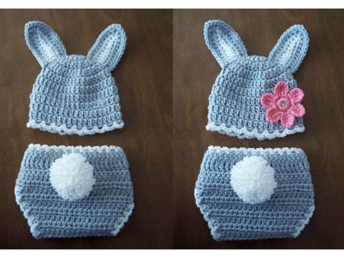Free Shipping Baby Girls Or Boys Crochet Graywhite Bunny Hat And