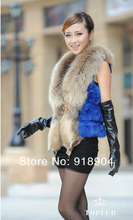 Free shipping  real genuine natural full plelt rabbit fur coat with big raccoon fur collar vest women's whole skin fur jacket