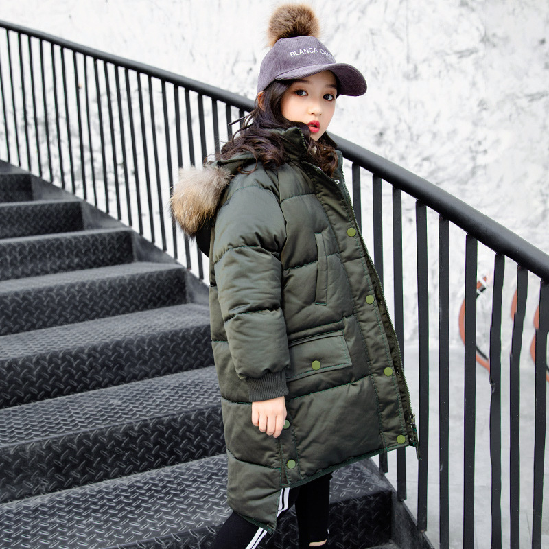 Girls Winter Outwear Cotton Padded Down Coat 2018 New Fashion Big Girls Warm Snow Fur Hooded Thicken Teenage Snowsuit 8 10 12 14 2016 winter middle aged and elderly women thicken coat hooded mid long style cotton padded coat warm big yards coat ss386