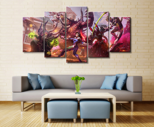 Wall Art Poster Painting Modular Pictures For Living Room Pictures Canvas Printed 5 Panel Game Overwatch/Warcraft/StarCraft   1