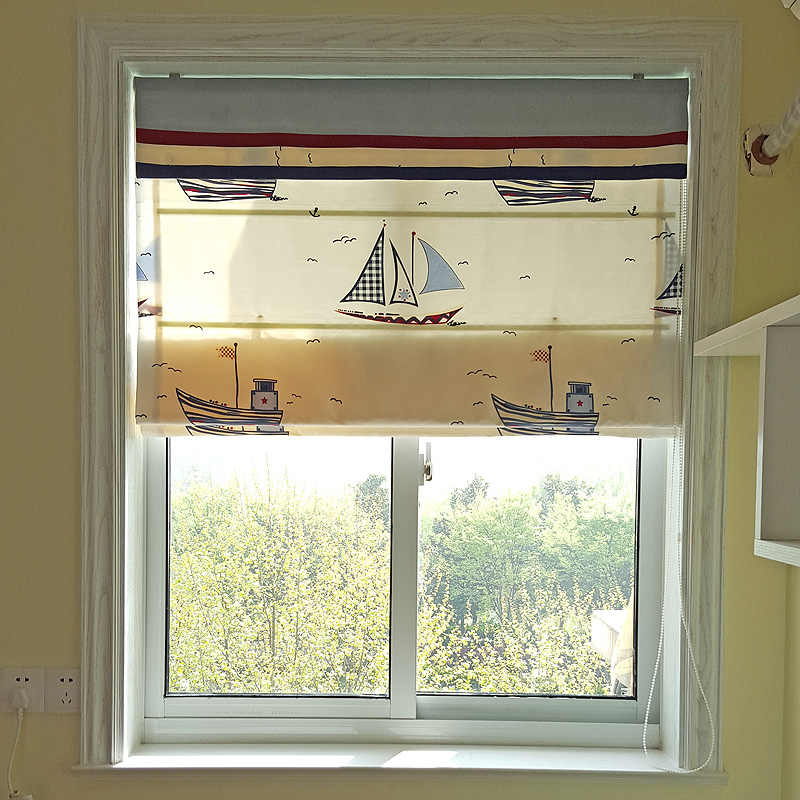 Roman blinds Mediterranean bedroom windows and a small sailboat custom window blinds folded down short curtain