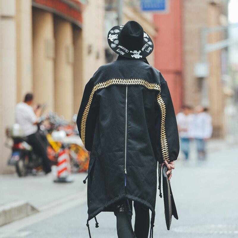 Black Gold Mid Long   Trench   Coat Harujuku Designer Abrigo Hombre Japanese Style Streetwear zipper Male   Trench   Coat