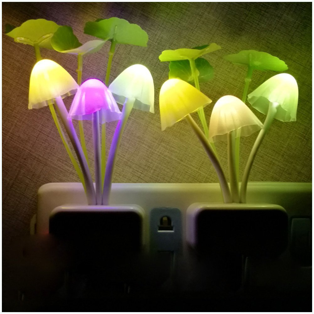 Colorful LED Motion Sensor Mushroom Night Light Bed Lamp Home Illumination Wireless Light Sensor Automatic Startup US/EU P