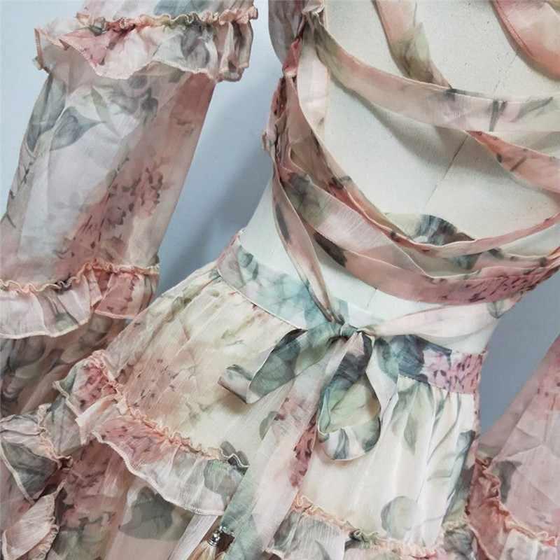 Женское шифоновое короткое платье TWOTWINSTYLE, разноцветное ажурное платье с рукавами-фонариками, высокой талией, V-образным вырезом и принтом на лето 2019