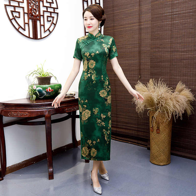 Novelty Sexy Long Cheongsam Summer Traditional Chinese style Dress Womens Rayon Qipao Slim Party Dresses Button Vestido S-5XL
