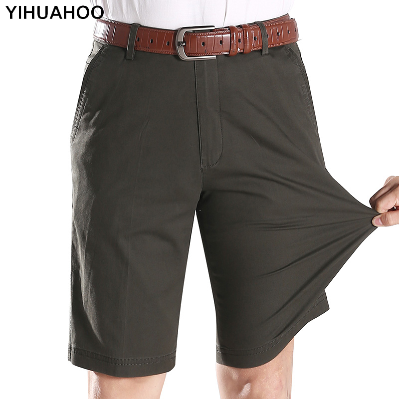 YIHUAHOO Summer Shorts Men 2018 Knee Length Casual Short Pants With Pockets Solid Cotton Bermuda Cargo Shorts For Men LW-7M15