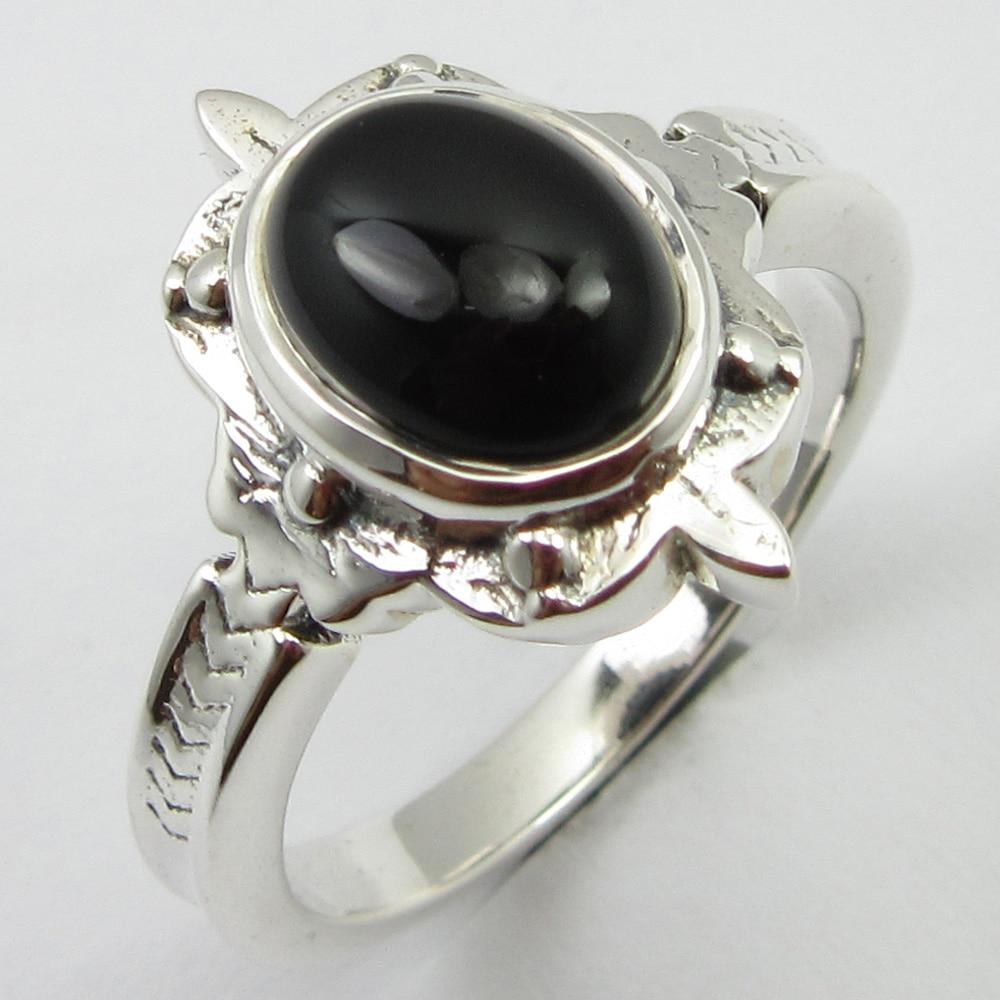 Black Onyx Ring Size 7.75 Solid Silver Stone Jewelry Unique Designed