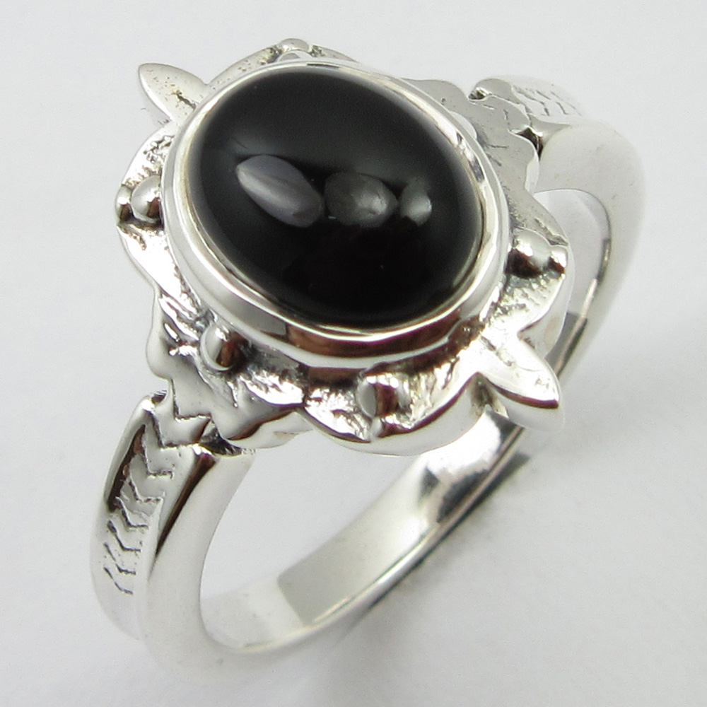 Black Onyx Ring Size 7.75 Solid Silver Stone Jewelry Unique Designed