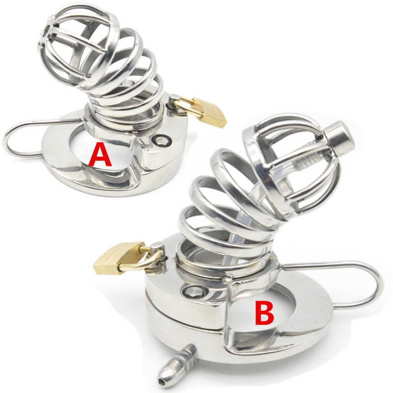 Male Chastity Cage 316L Stainless Steel Cock Lock with Soft Urethral Sound Catheter Male Bondage Dick