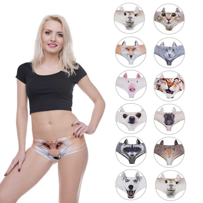 bf6355401 LEIMOLIS pig cat dog fox Animal funny print sexy ear panties female kawaii Lovely  underwear push