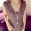 1 unid flores largo collar de corea moda perla simulada joyería dulce tono de oro cadenas del suéter colar