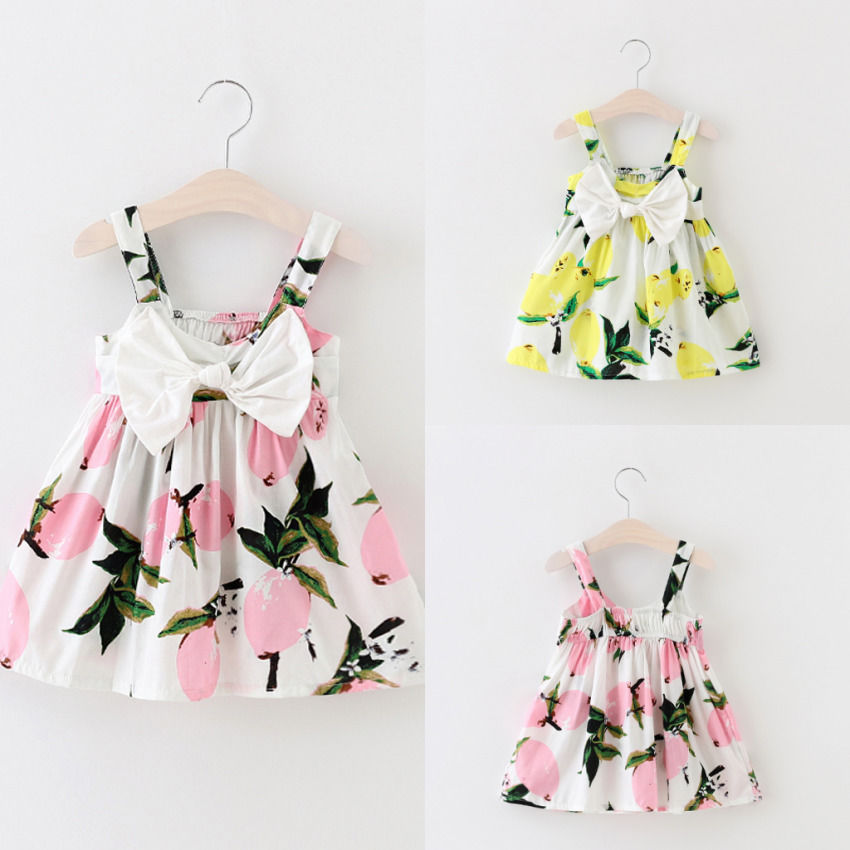 Summer Casual Dress For Girls Yellow Lemon Print Breathable With Tassels Attires