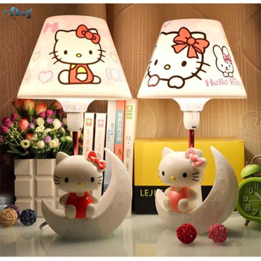 Cute Hello Kitty Moon Night Lights Bedroom Table Lamps Energy Saving  Bedside Romantic Children Room Study Desk Lights Fixtures
