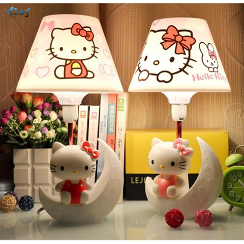 Cute Hello Kitty Moon Night Lights Bedroom Table Lamps Energy Saving Bedside Romantic Children Room Study Desk Lights FixturesCute Hello Kitty Moon Night Lights Bedroom Table Lamps Energy Saving Bedside Romantic Children Room Study Desk Lights Fixtures